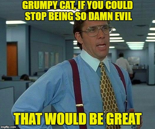 That Would Be Great Meme | GRUMPY CAT, IF YOU COULD STOP BEING SO DAMN EVIL THAT WOULD BE GREAT | image tagged in memes,that would be great | made w/ Imgflip meme maker