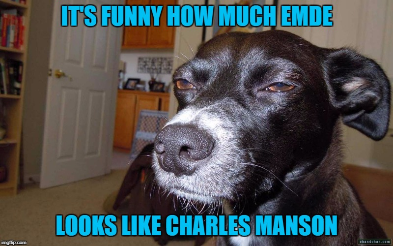 IT'S FUNNY HOW MUCH EMDE LOOKS LIKE CHARLES MANSON | made w/ Imgflip meme maker