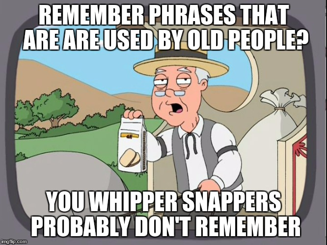 I have the body of a young person, but the brain of an old man! | REMEMBER PHRASES THAT ARE ARE USED BY OLD PEOPLE? YOU WHIPPER SNAPPERS PROBABLY DON'T REMEMBER | image tagged in memes,pepperidge farm remembers,whipper snappers,old people | made w/ Imgflip meme maker