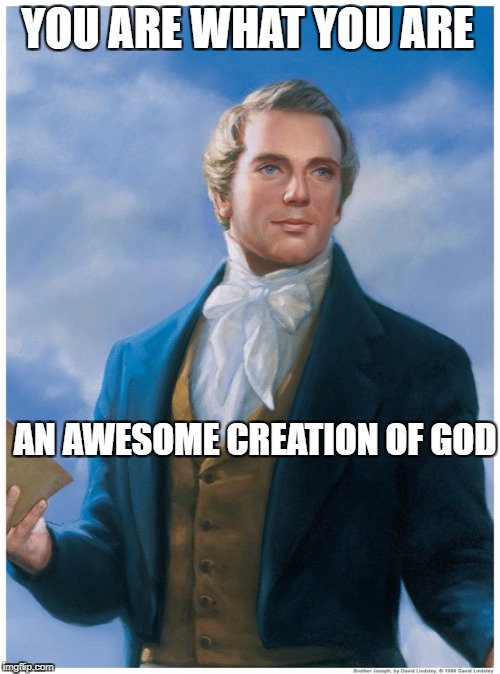 YOU ARE WHAT YOU ARE AN AWESOME CREATION OF GOD | image tagged in god,creation | made w/ Imgflip meme maker