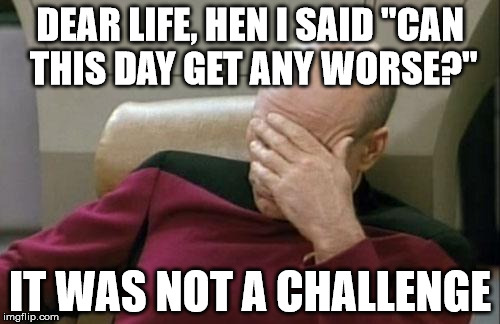 "Captain Picard Facepalm Meme | DEAR LIFE, HEN I SAID ""CAN THIS DAY GET ANY WORSE?"" IT WAS NOT A CHALLENGE 