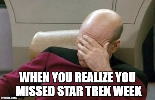 Captain Picard Facepalm Meme | WHEN YOU REALIZE YOU MISSED STAR TREK WEEK | image tagged in memes,captain picard facepalm | made w/ Imgflip meme maker