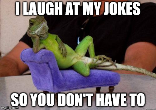 Sassy Iguana | I LAUGH AT MY JOKES SO YOU DON'T HAVE TO | image tagged in memes,sassy iguana | made w/ Imgflip meme maker