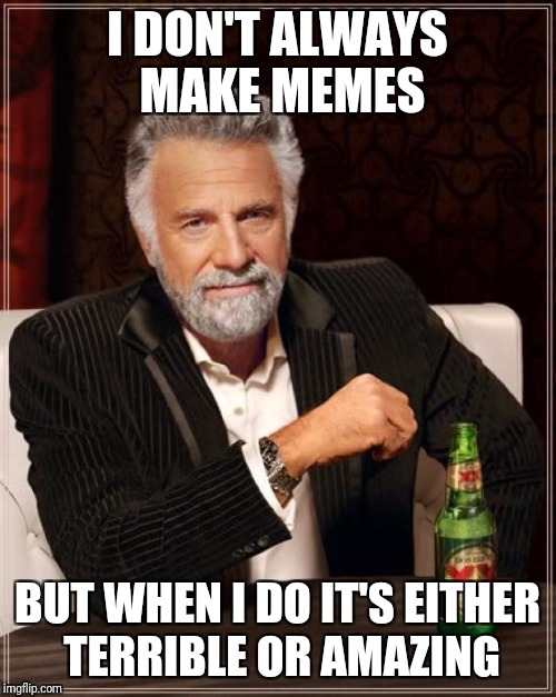 The Most Interesting Man In The World Meme | I DON'T ALWAYS MAKE MEMES BUT WHEN I DO IT'S EITHER TERRIBLE OR AMAZING | image tagged in memes,the most interesting man in the world | made w/ Imgflip meme maker
