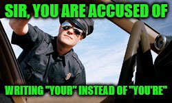 "I admit it, I'm a grammar Nazi. | SIR, YOU ARE ACCUSED OF WRITING ""YOUR"" INSTEAD OF ""YOU'RE"" 