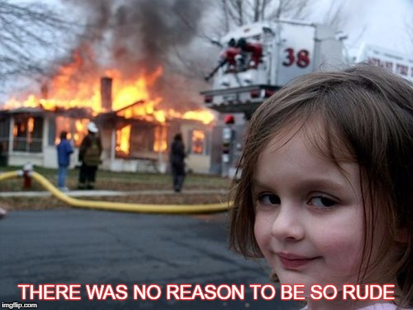 Disaster Girl | THERE WAS NO REASON TO BE SO RUDE | image tagged in disaster girl,rude,payback | made w/ Imgflip meme maker