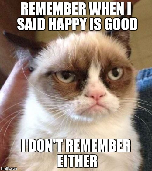Grumpy Cat Reverse | REMEMBER WHEN I SAID HAPPY IS GOOD I DON'T REMEMBER EITHER | image tagged in memes,grumpy cat reverse,grumpy cat | made w/ Imgflip meme maker