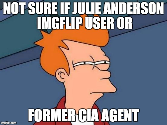 Futurama Fry Meme | NOT SURE IF JULIE ANDERSON IMGFLIP USER OR FORMER CIA AGENT | image tagged in memes,futurama fry | made w/ Imgflip meme maker