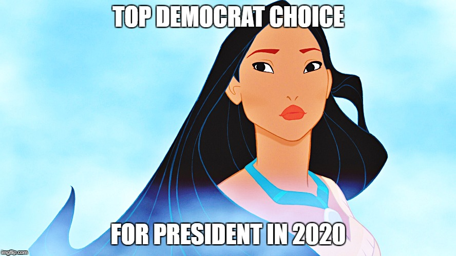 Pocahontas | TOP DEMOCRAT CHOICE FOR PRESIDENT IN 2020 | image tagged in pocahontas | made w/ Imgflip meme maker