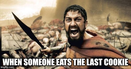 Sparta Leonidas Meme | WHEN SOMEONE EATS THE LAST COOKIE | image tagged in memes,sparta leonidas | made w/ Imgflip meme maker