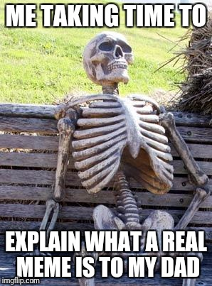Waiting Skeleton Meme | ME TAKING TIME TO EXPLAIN WHAT A REAL MEME IS TO MY DAD | image tagged in memes,waiting skeleton | made w/ Imgflip meme maker