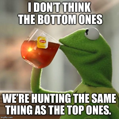 But Thats None Of My Business Meme | I DON'T THINK THE BOTTOM ONES WE'RE HUNTING THE SAME THING AS THE TOP ONES. | image tagged in memes,but thats none of my business,kermit the frog | made w/ Imgflip meme maker