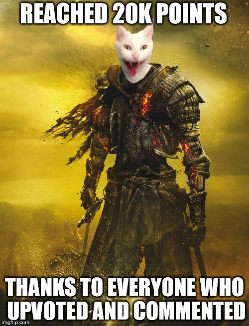 20k Now where is that 30k | REACHED 20K POINTS THANKS TO EVERYONE WHO UPVOTED AND COMMENTED | image tagged in darksoulscat,cats,dark souls,memes,20k,animals | made w/ Imgflip meme maker