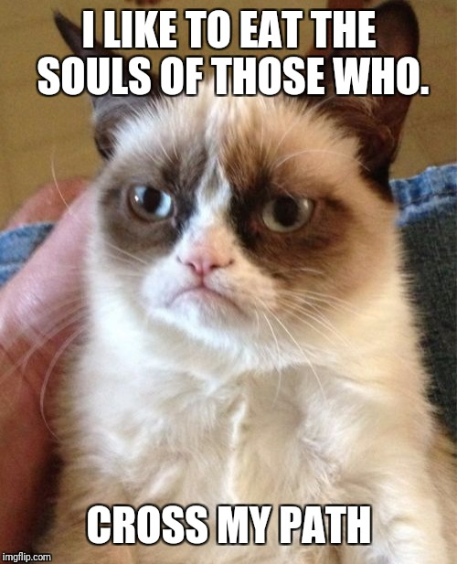 Grumpy Cat Meme | I LIKE TO EAT THE SOULS OF THOSE WHO. CROSS MY PATH | image tagged in memes,grumpy cat | made w/ Imgflip meme maker