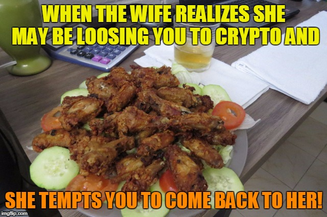 Lost to Crypto  | WHEN THE WIFE REALIZES SHE MAY BE LOOSING YOU TO CRYPTO AND SHE TEMPTS YOU TO COME BACK TO HER! | image tagged in cryptocurrency | made w/ Imgflip meme maker