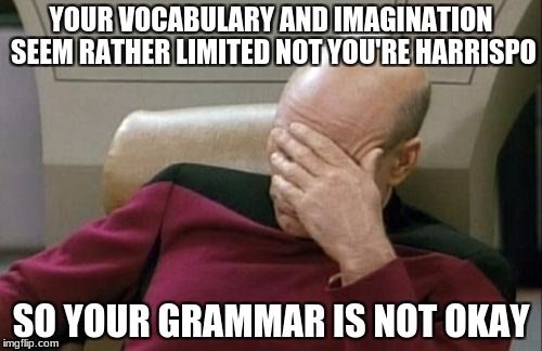 Captain Picard Facepalm Meme | YOUR VOCABULARY AND IMAGINATION SEEM RATHER LIMITED NOT YOU'RE HARRISPO SO YOUR GRAMMAR IS NOT OKAY | image tagged in memes,captain picard facepalm,a real winner,or whinner | made w/ Imgflip meme maker