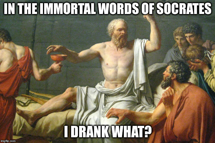 The Last Words of Socrates | IN THE IMMORTAL WORDS OF SOCRATES I DRANK WHAT? | image tagged in the last words of socrates | made w/ Imgflip meme maker