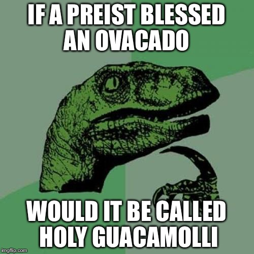 Philosoraptor Meme | IF A PREIST BLESSED AN OVACADO WOULD IT BE CALLED HOLY GUACAMOLLI | image tagged in memes,philosoraptor | made w/ Imgflip meme maker
