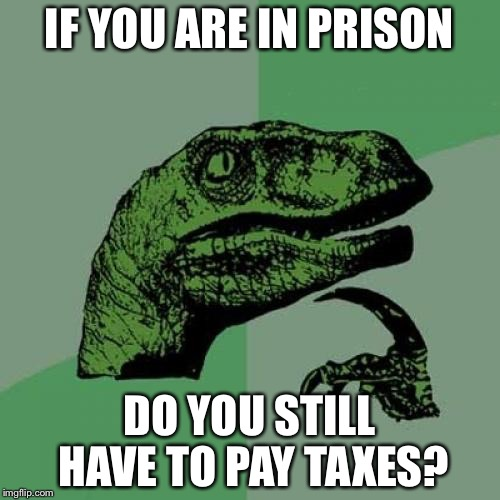 Philosoraptor Meme | IF YOU ARE IN PRISON DO YOU STILL HAVE TO PAY TAXES? | image tagged in memes,philosoraptor | made w/ Imgflip meme maker
