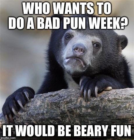 Confession Bear Meme | WHO WANTS TO DO A BAD PUN WEEK? IT WOULD BE BEARY FUN | image tagged in memes,confession bear | made w/ Imgflip meme maker