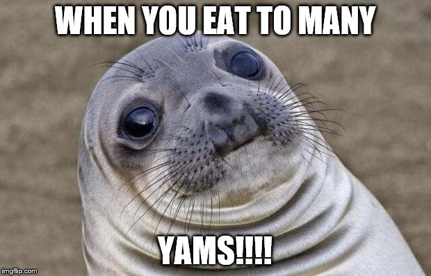 Awkward Moment Sealion Meme | WHEN YOU EAT TO MANY YAMS!!!! | image tagged in memes,awkward moment sealion | made w/ Imgflip meme maker