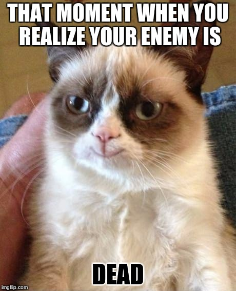 Smiling grumpy cat | THAT MOMENT WHEN YOU REALIZE YOUR ENEMY IS DEAD | image tagged in smiling grumpy cat | made w/ Imgflip meme maker