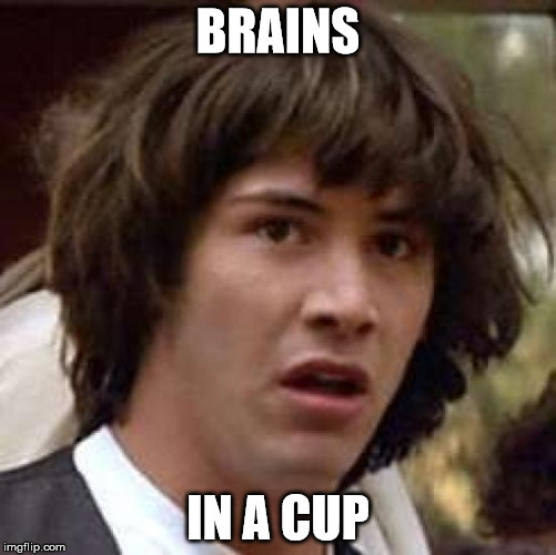 Conspiracy Keanu Meme | BRAINS IN A CUP | image tagged in memes,conspiracy keanu | made w/ Imgflip meme maker