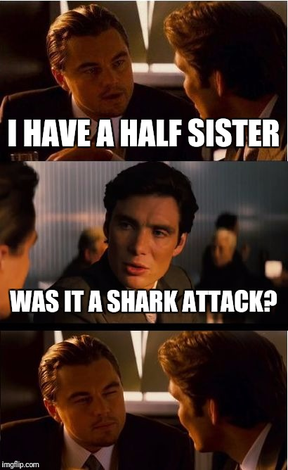 Inception Meme | I HAVE A HALF SISTER WAS IT A SHARK ATTACK? | image tagged in memes,inception | made w/ Imgflip meme maker
