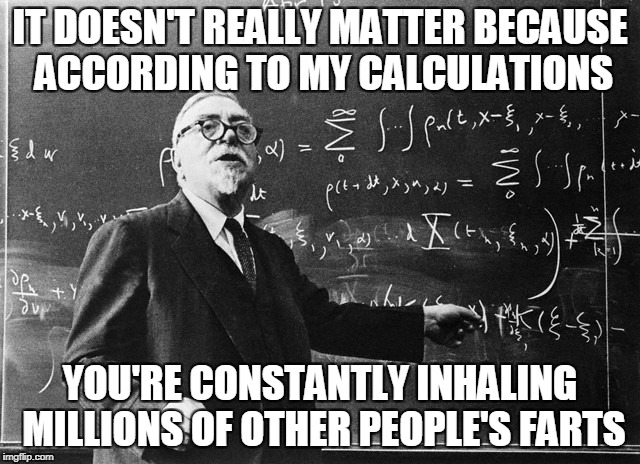 IT DOESN'T REALLY MATTER BECAUSE ACCORDING TO MY CALCULATIONS YOU'RE CONSTANTLY INHALING MILLIONS OF OTHER PEOPLE'S FARTS | made w/ Imgflip meme maker