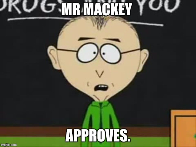 MR MACKEY APPROVES. | image tagged in mr mackey | made w/ Imgflip meme maker