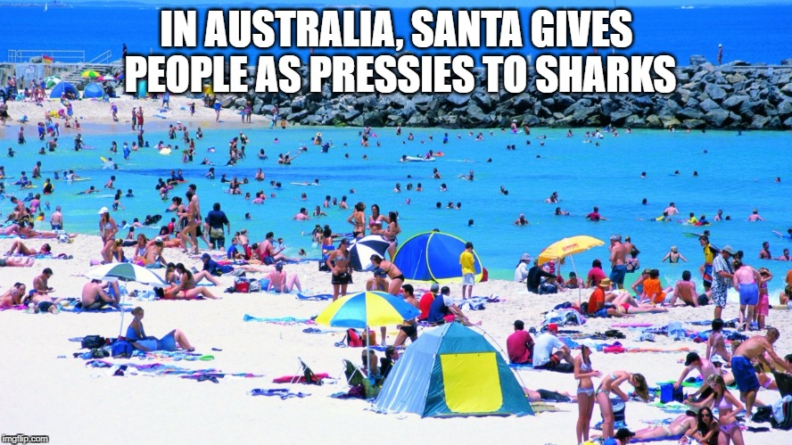IN AUSTRALIA, SANTA GIVES PEOPLE AS PRESSIES TO SHARKS | image tagged in summer beach | made w/ Imgflip meme maker