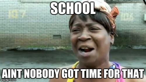 Aint Nobody Got Time For That Meme | SCHOOL AINT NOBODY GOT TIME FOR THAT | image tagged in memes,aint nobody got time for that | made w/ Imgflip meme maker
