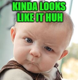 Skeptical Baby Meme | KINDA LOOKS LIKE IT HUH | image tagged in memes,skeptical baby | made w/ Imgflip meme maker