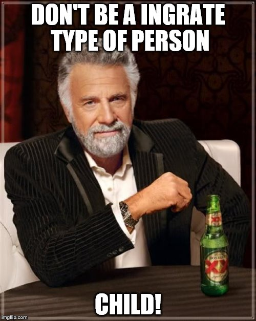 The Most Interesting Man In The World Meme | DON'T BE A INGRATE TYPE OF PERSON CHILD! | image tagged in memes,the most interesting man in the world | made w/ Imgflip meme maker