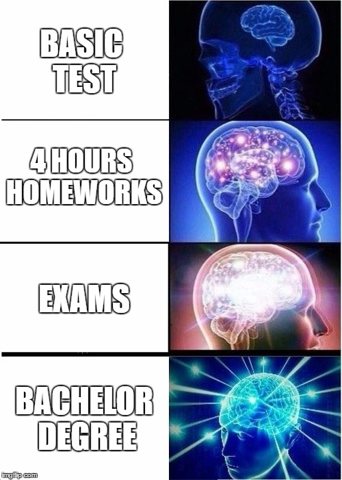 Expanding Brain with School | BASIC TEST 4 HOURS HOMEWORKS EXAMS BACHELOR DEGREE | image tagged in memes,expanding brain | made w/ Imgflip meme maker