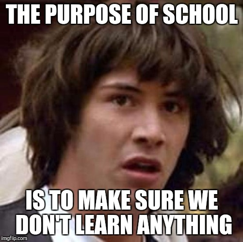 Conspiracy Keanu Meme | THE PURPOSE OF SCHOOL IS TO MAKE SURE WE DON'T LEARN ANYTHING | image tagged in memes,conspiracy keanu | made w/ Imgflip meme maker