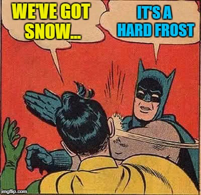 Batman Slapping Robin Meme | WE'VE GOT SNOW... IT'S A HARD FROST | image tagged in memes,batman slapping robin,one million points,reveal,face reveal | made w/ Imgflip meme maker