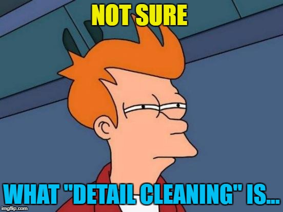 "Futurama Fry Meme | NOT SURE WHAT ""DETAIL CLEANING"" IS... 