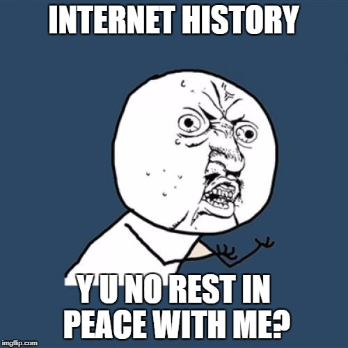 Y U No Meme | INTERNET HISTORY Y U NO REST IN PEACE WITH ME? | image tagged in memes,y u no | made w/ Imgflip meme maker