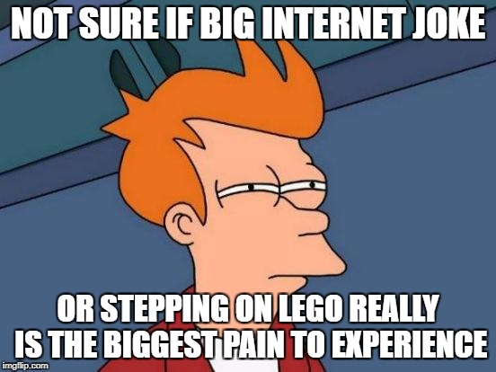 Futurama Fry Meme | NOT SURE IF BIG INTERNET JOKE OR STEPPING ON LEGO REALLY IS THE BIGGEST PAIN TO EXPERIENCE | image tagged in memes,futurama fry | made w/ Imgflip meme maker