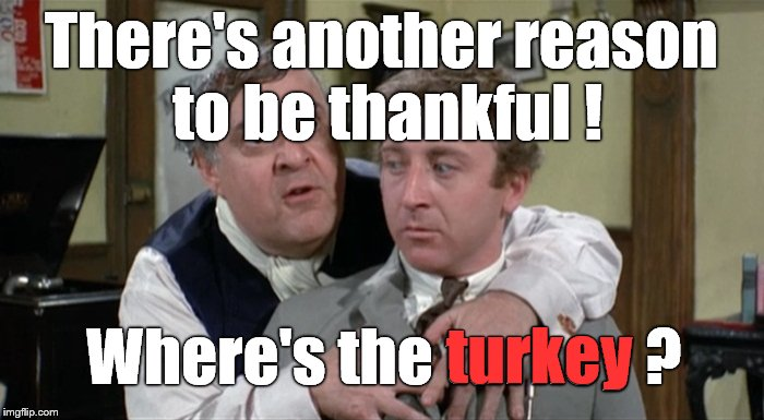 Bialistock & Bloom | There's another reason to be thankful ! Where's the turkey ? turkey | image tagged in bialistock  bloom | made w/ Imgflip meme maker