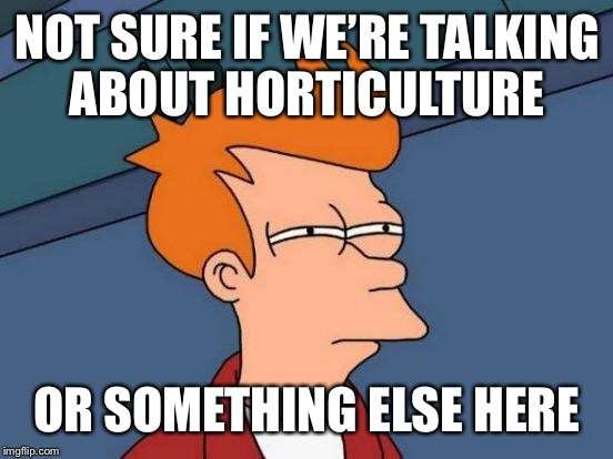 Futurama Fry Meme | NOT SURE IF WE'RE TALKING ABOUT HORTICULTURE OR SOMETHING ELSE HERE | image tagged in memes,futurama fry | made w/ Imgflip meme maker