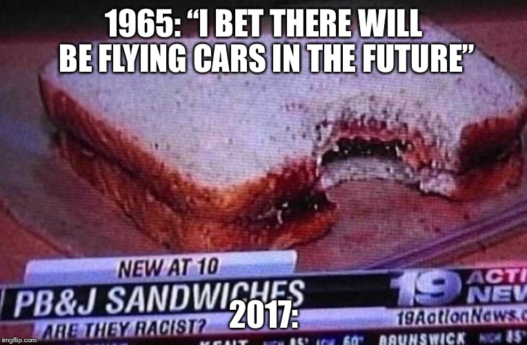 "FUNNY MEME | 1965: ""I BET THERE WILL BE FLYING CARS IN THE FUTURE"" 2017: 