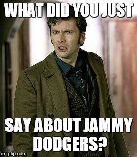 doctor who is confused | WHAT DID YOU JUST SAY ABOUT JAMMY DODGERS? | image tagged in doctor who is confused | made w/ Imgflip meme maker