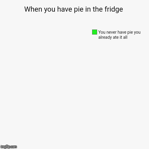 When you have pie in the fridge | You never have pie you already ate it all | image tagged in funny,pie charts | made w/ Imgflip pie chart maker