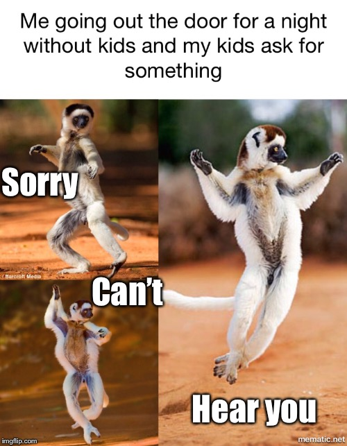 Dance of the fleeing parent  | Sorry Can't Hear you | image tagged in lemur,dancing,crazy kids,bad parents,freedom | made w/ Imgflip meme maker