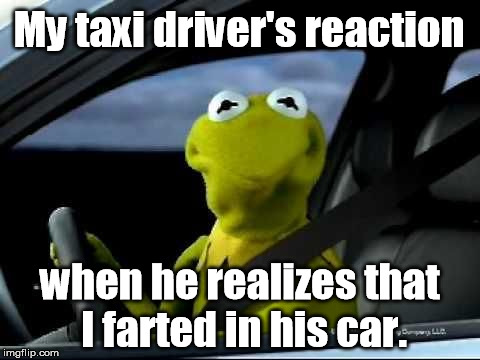 It's not my fault that the windows wouldn't roll down. | My taxi driver's reaction when he realizes that I farted in his car. | image tagged in kermit my face when,memes,meme,kermit the frog | made w/ Imgflip meme maker