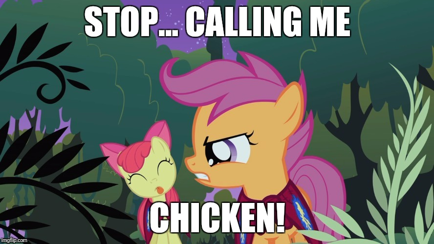 You made scootaloo mad now! :) | STOP... CALLING ME CHICKEN! | image tagged in memes,scootaloo,chicken | made w/ Imgflip meme maker
