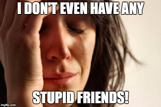 First World Problems Meme | I DON'T EVEN HAVE ANY STUPID FRIENDS! | image tagged in memes,first world problems | made w/ Imgflip meme maker