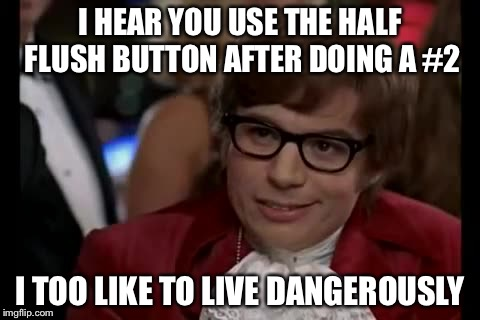 I Too Like To Live Dangerously Meme | I HEAR YOU USE THE HALF FLUSH BUTTON AFTER DOING A #2 I TOO LIKE TO LIVE DANGEROUSLY | image tagged in memes,i too like to live dangerously,toilet,toilet humor | made w/ Imgflip meme maker